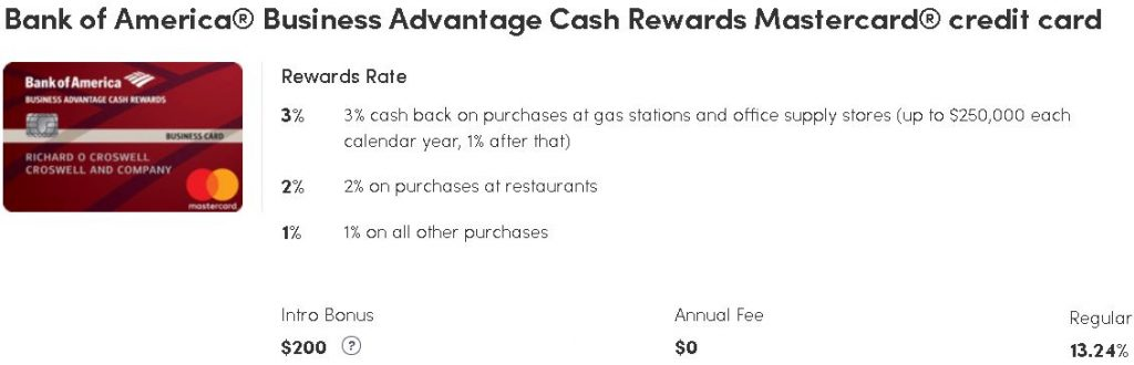 Bank of America, Business Advantage Cash Rewards Mastercard, Business credit card