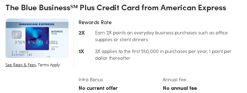 The Blue Business, Plus Credit Card from American Express